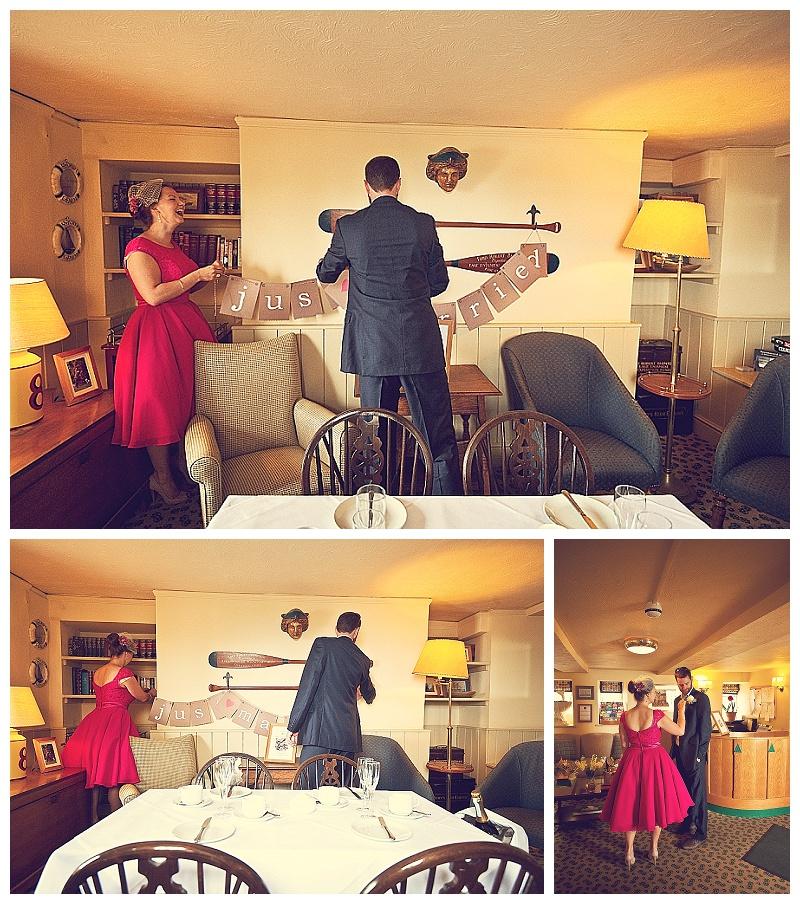 Preparation for for elopement wedding at Clovelly in North Devon