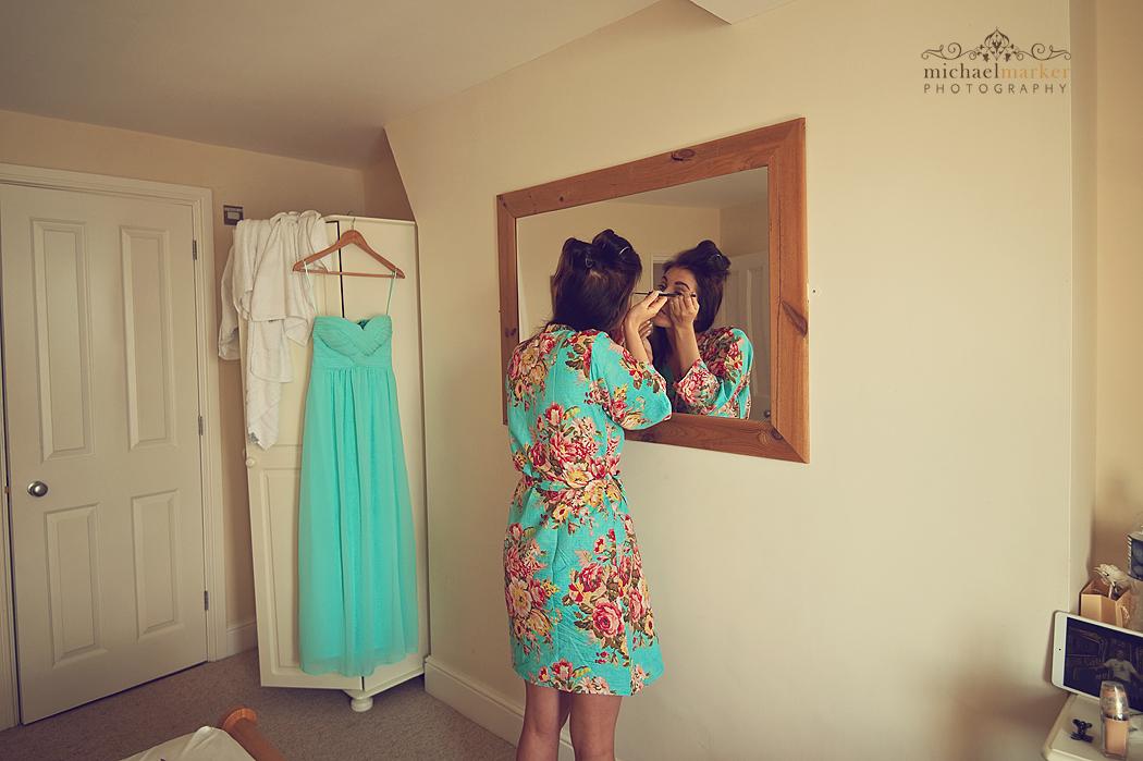 Bridesmaids-applying-make-up-in-Cornwall