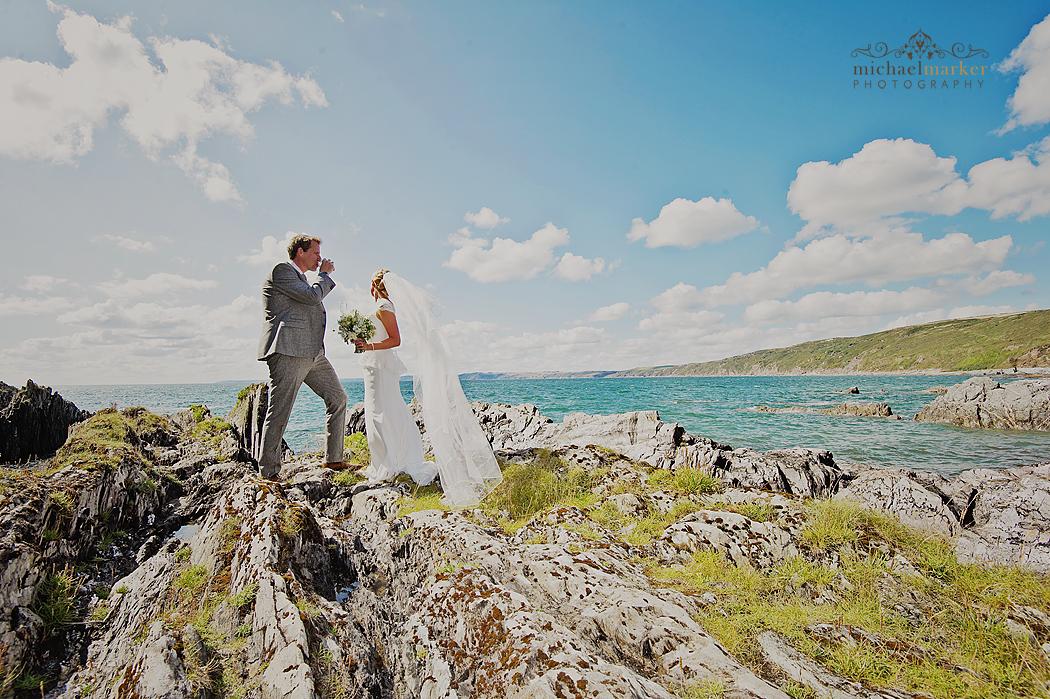 Polhawn-beach-wedding-couple