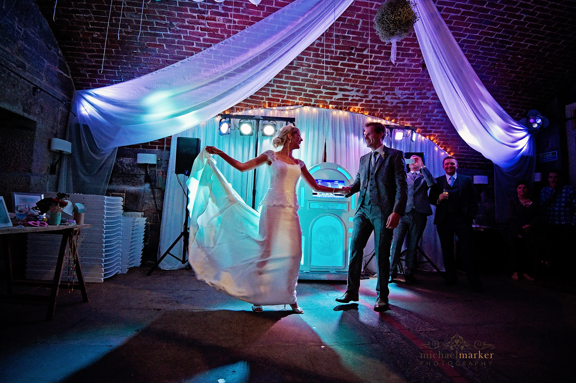 Bride and groom's first dance at Polhawn Fort wedding