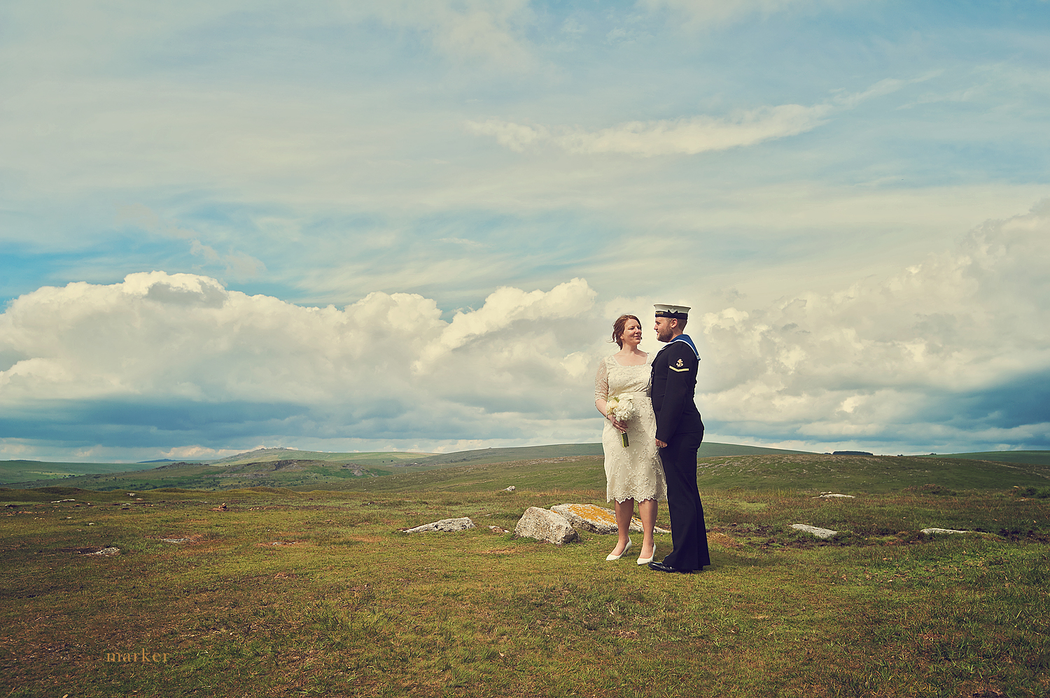 Beautiful bride and groom near Princetown on Dartmoor