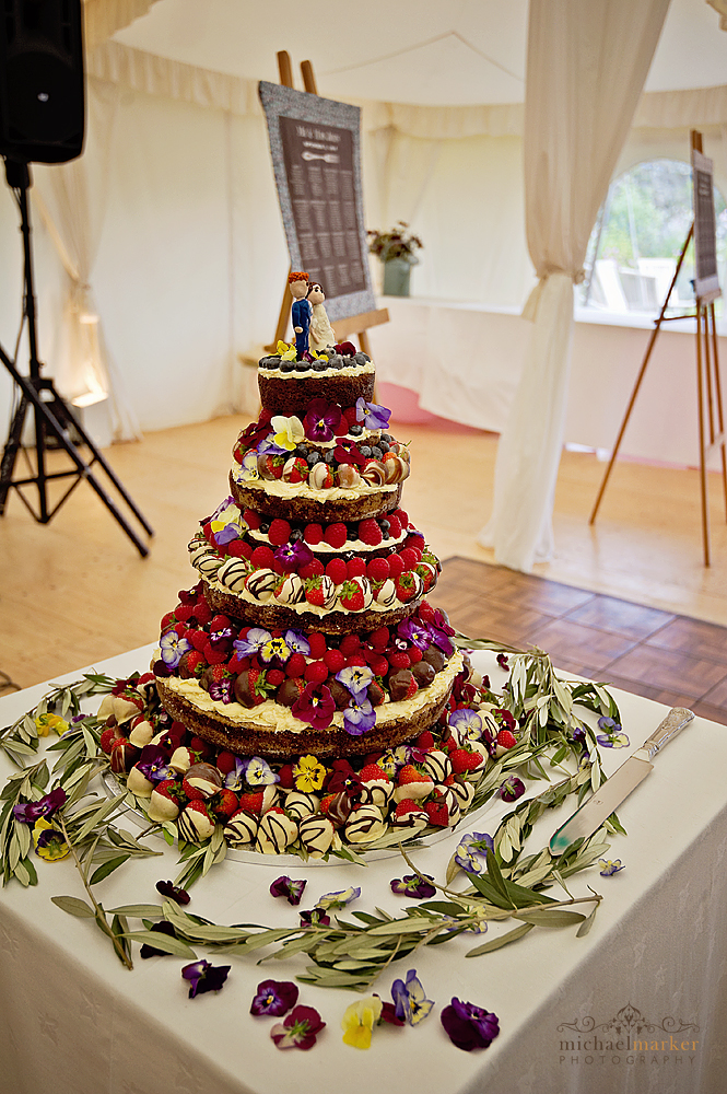 Fresh fruit and edble flowers wedding cake at Shilstone House