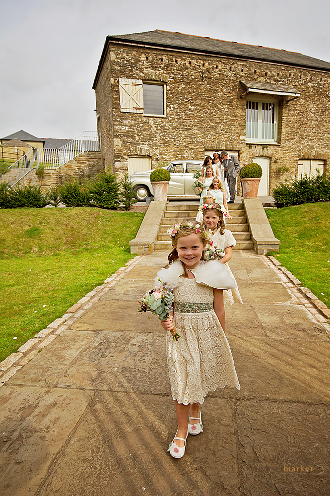 Bridal party arriving at Shilstone House wedding Devon