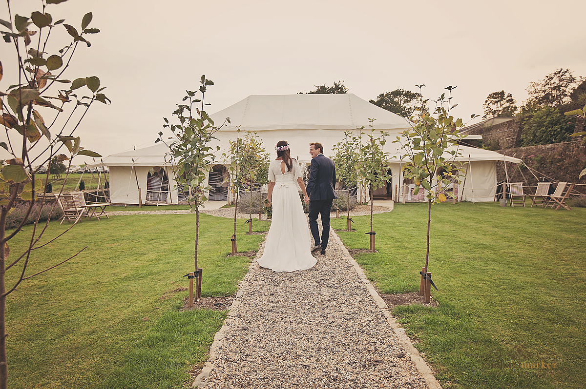 Bride-and-groom-at-marquee-in-Shilstone
