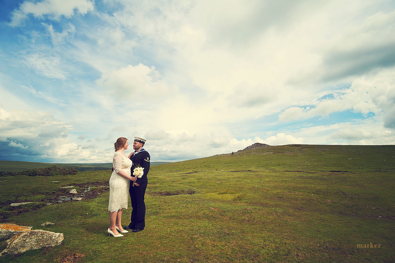 Bride-and-groom-on-Dartmoor-summer-wedding