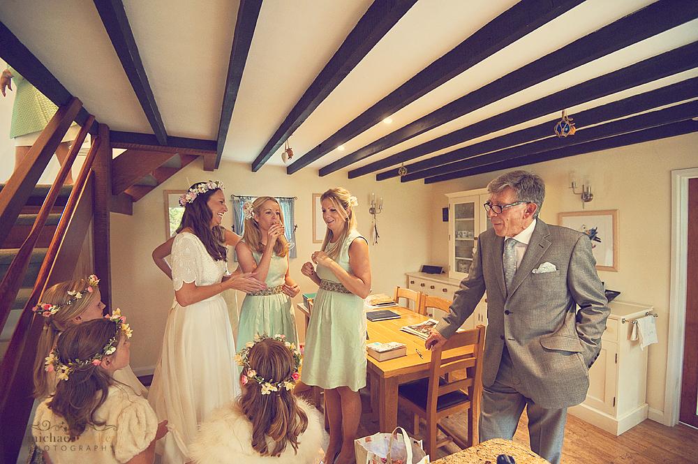Bride-bridesmaids-and-father