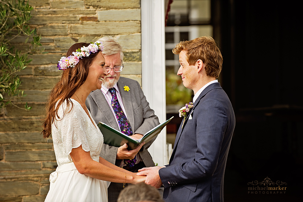 Exchanging-wedding-vows-at-Shilstone-in-Devon