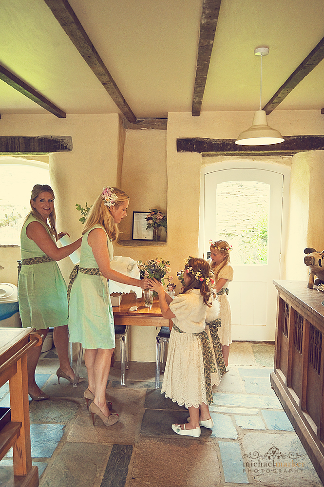 Flower-girls-at-Shilstone-wedding-Devon