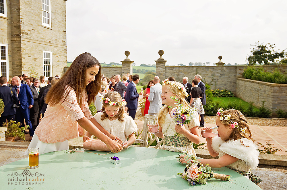 Flowergirls-playing-at-Devon-wedding