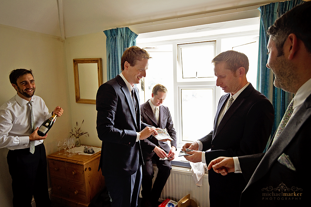 Groom-getting-ready-Hope-Cove