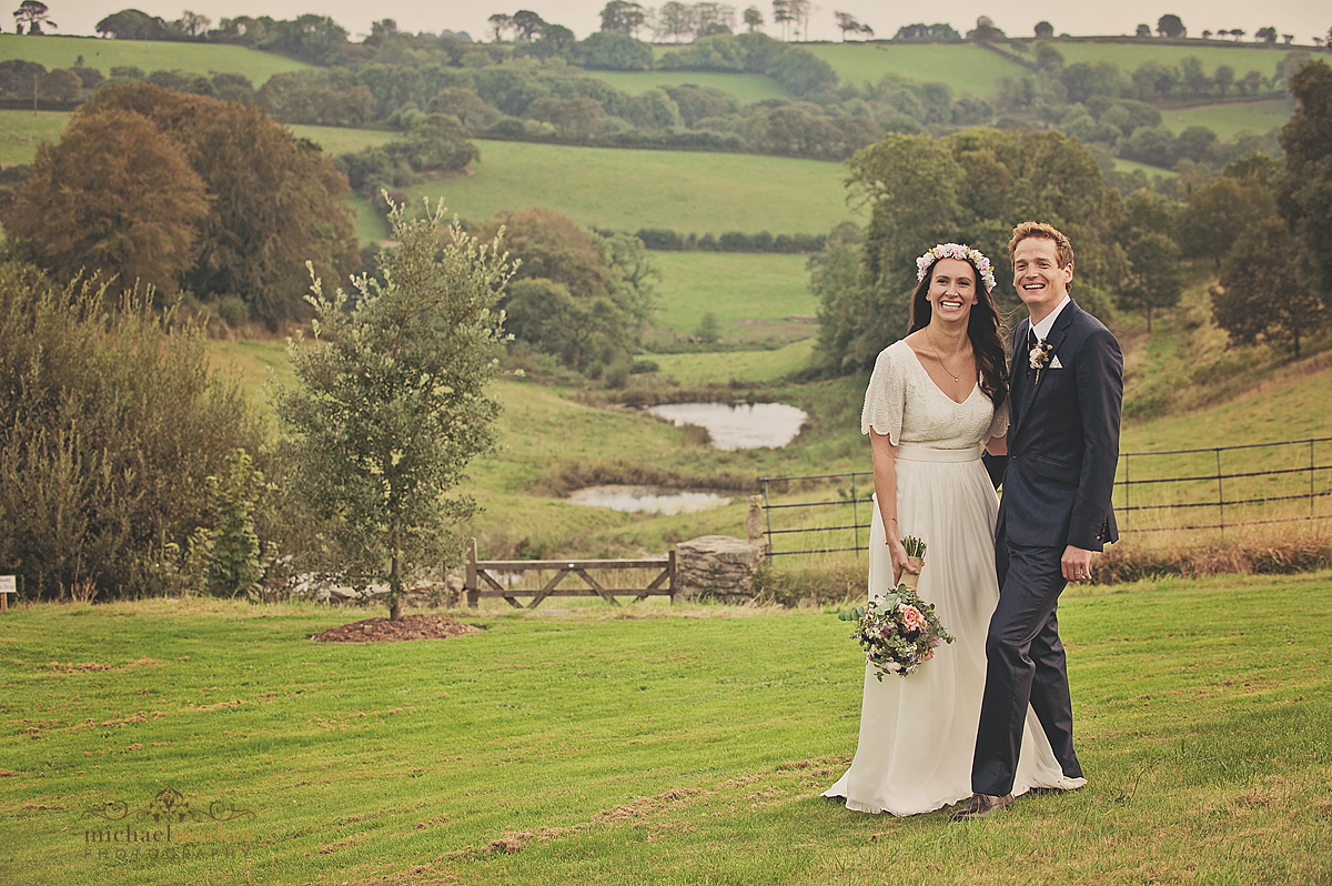 Vintage wedding couple at Shilstone House Devon