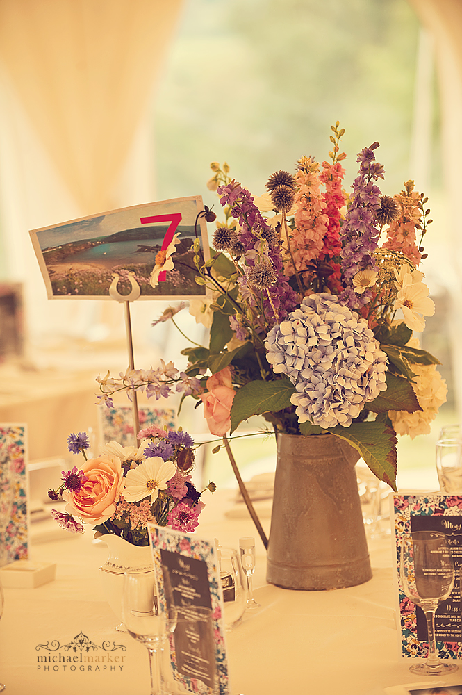 Wedding table centres at Shilstone House in Devon