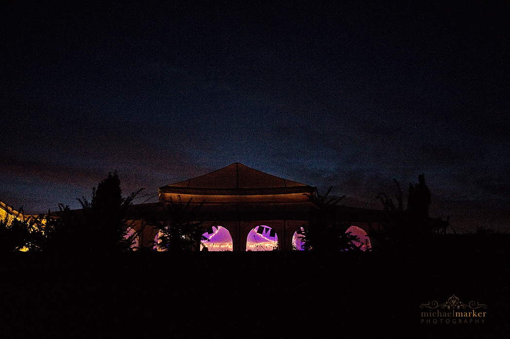 wedding marquee at Shilstone House lit up at night
