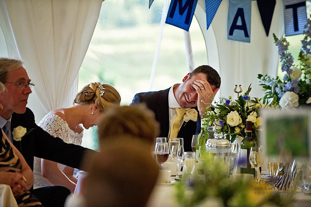 Wedding speeches at Shilstone House wedding in Devon