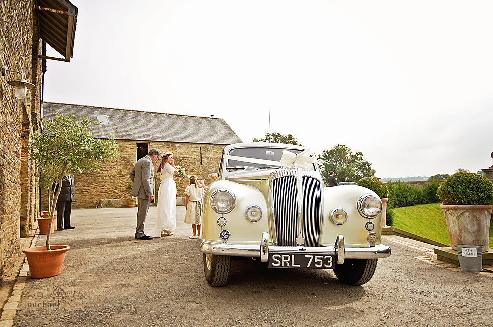 Vintage wedding car at Shilstone House wedding in south Devon
