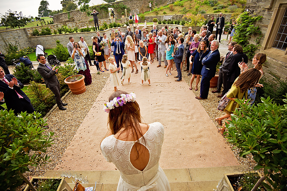 Throwing the weddign bouquet at Shilstone House