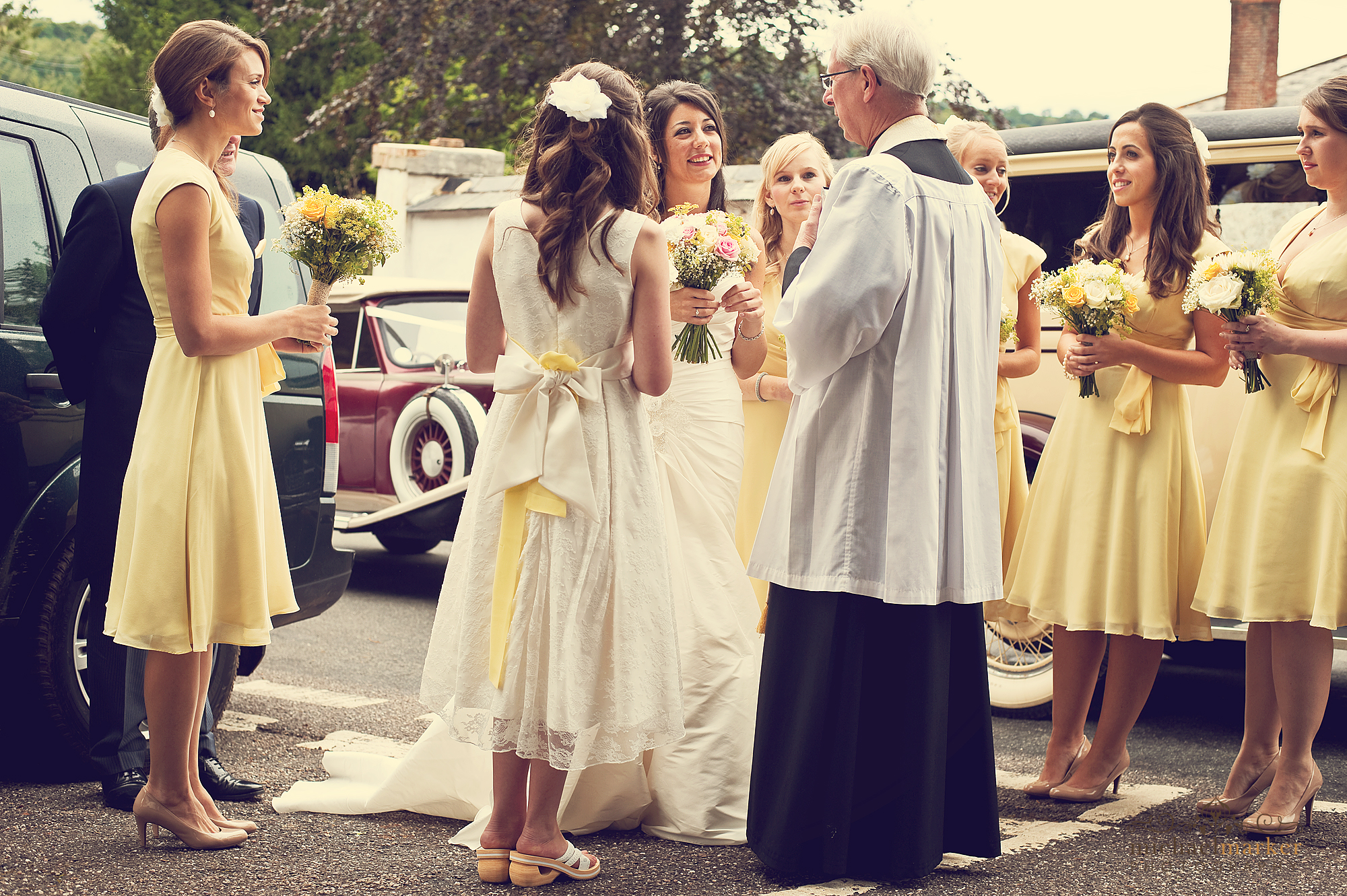 Arrival of bride at Bickleigh Church in Devon
