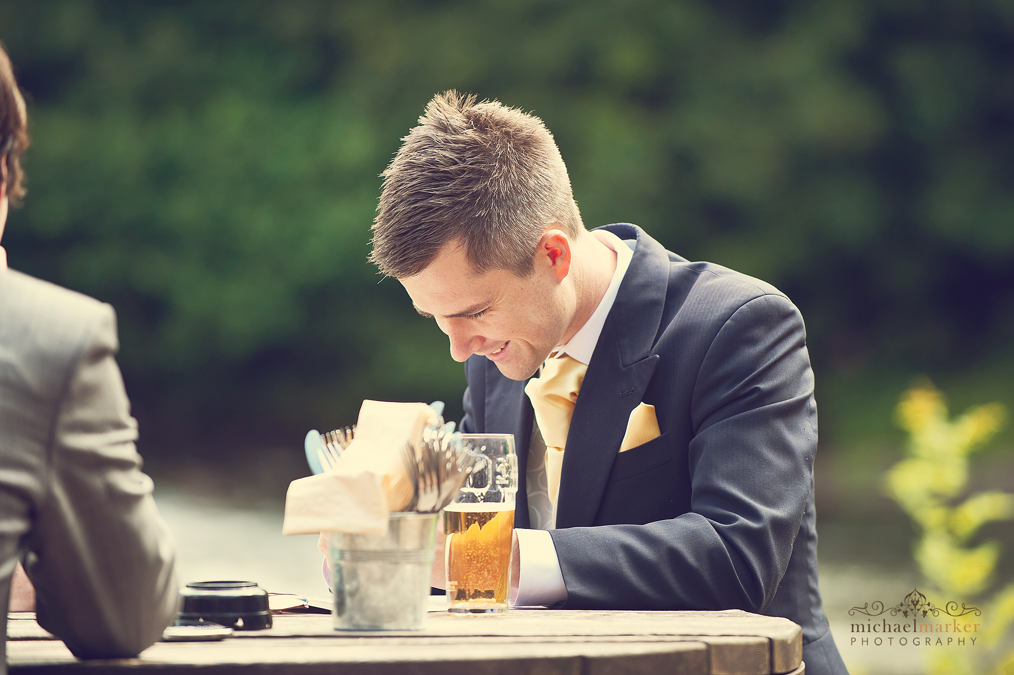 Bestman writing his speech before the wedding