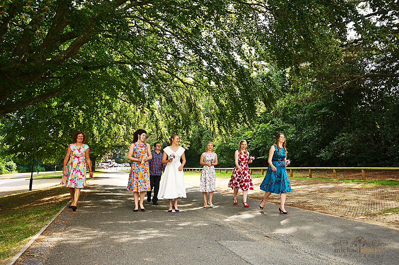 Bride and bridesmaids arriving at Devon wedding venue Follaton House