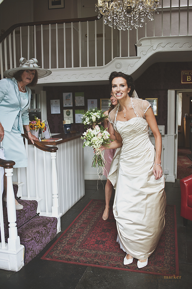 Bride in hotel reception in Lifton Devon
