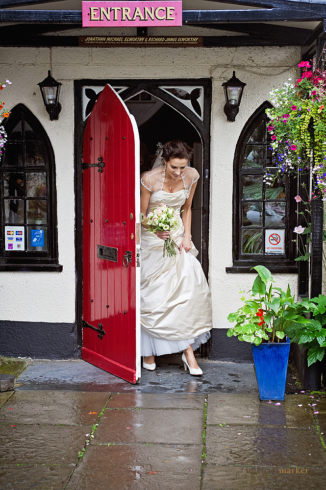 Bride leaving hotel in Devon