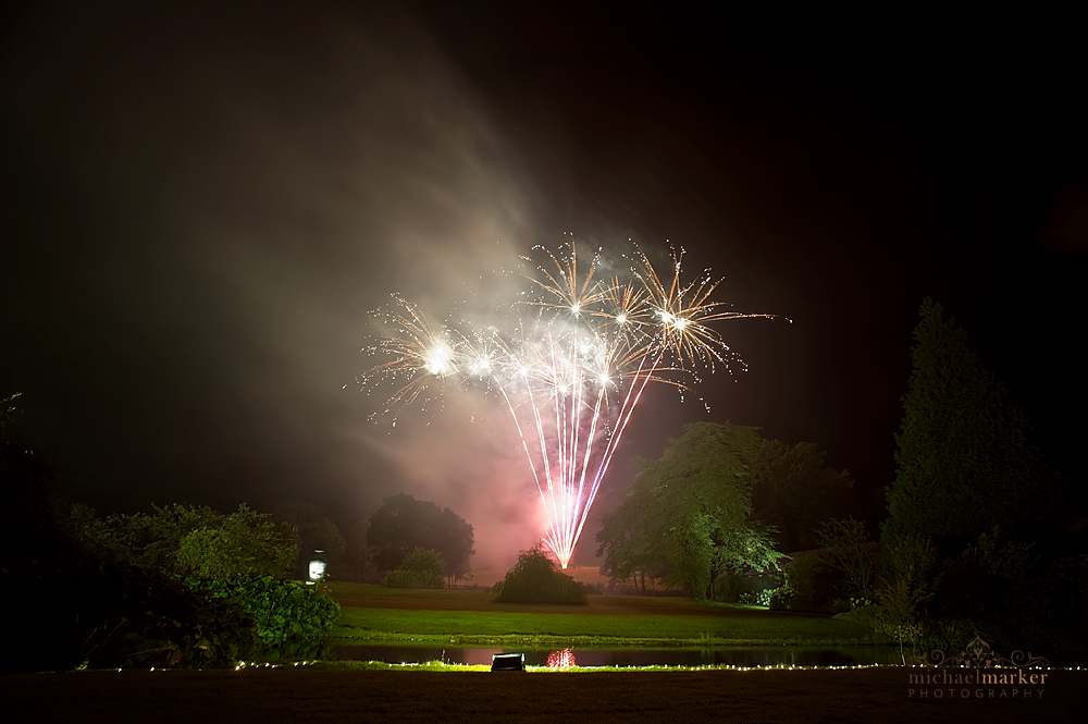 Wedding day fireworks display in devon