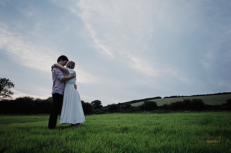 Totnes-wedding-bride-and-groom-sunset