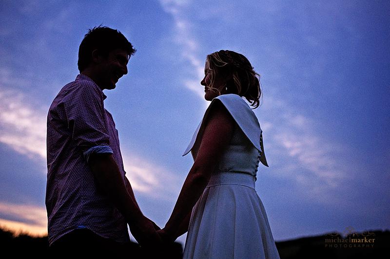 Totnes-wedding-couple-sunset