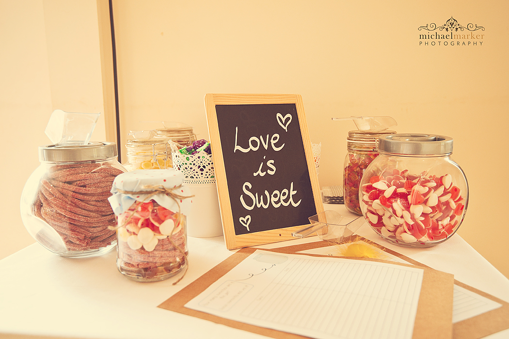 DIY sweets table at Devon wedding in Lifton