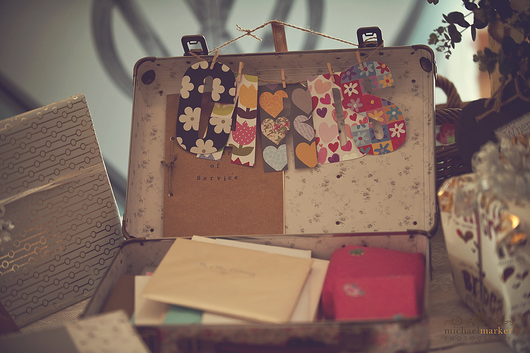 Vintage suitcase for weddign cards at lifton wedding in Devon