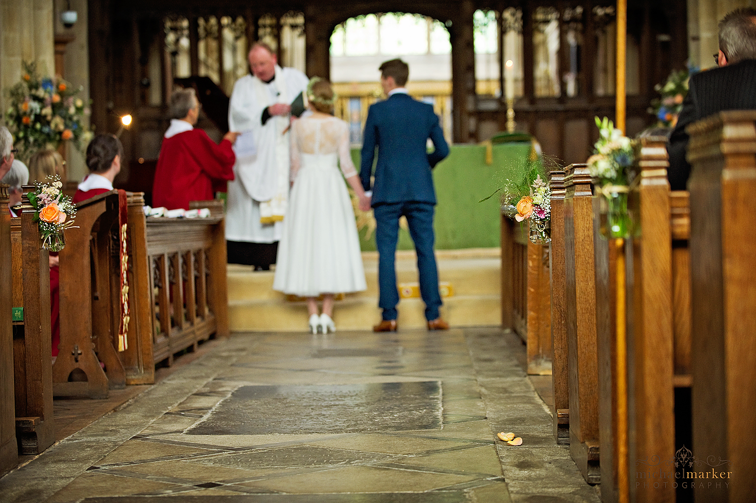 Bride and groom at Wiltshire Church wedding