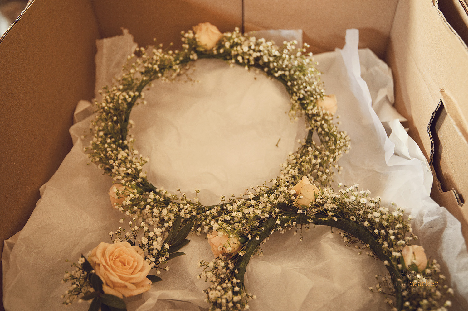 Floral bridal and bridesmaid crowns