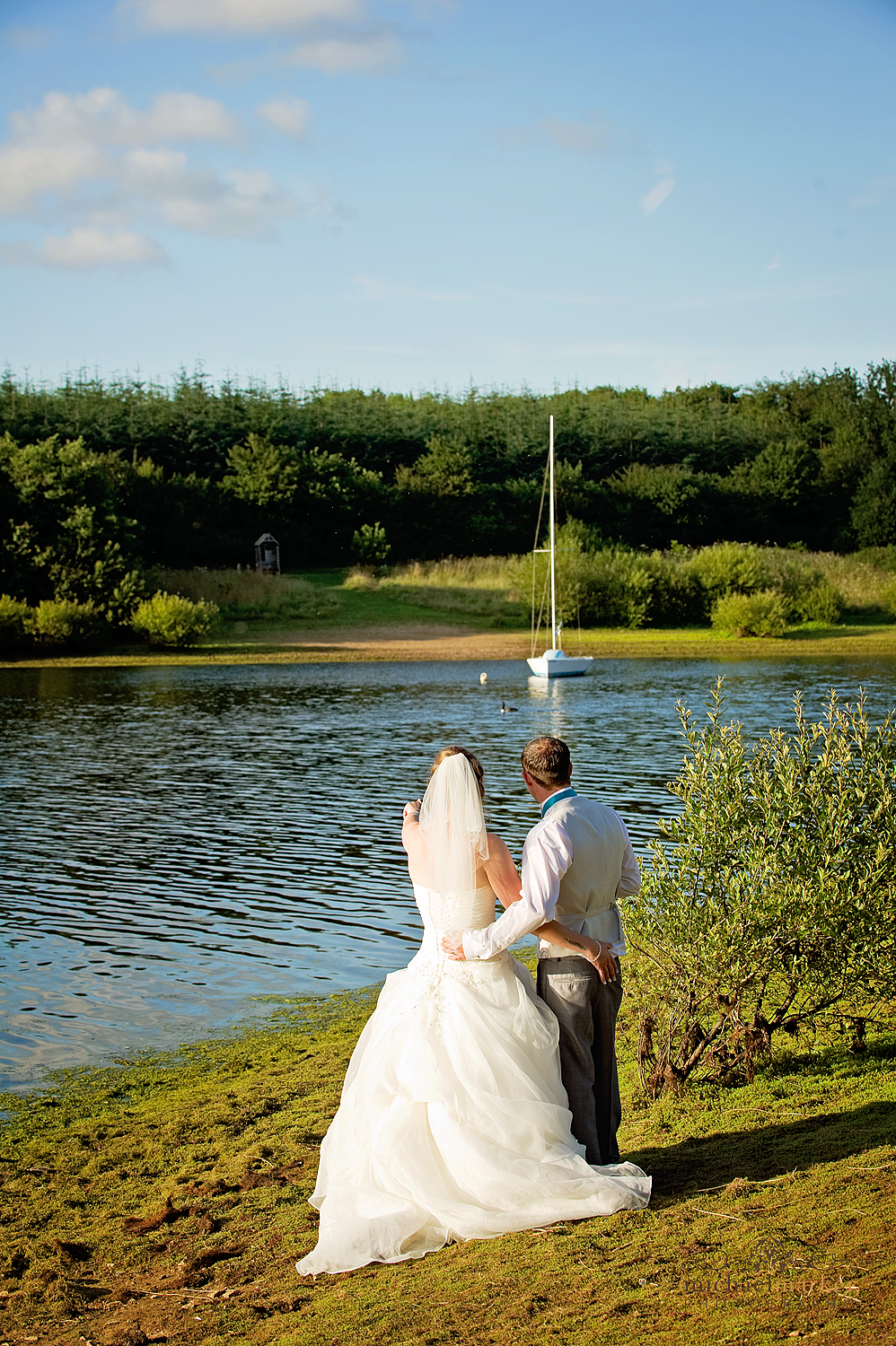 Bride and groom at Devon wedding venue Roadford reservoir