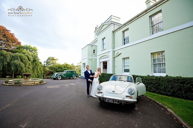 Vintage Porsche at Deer Park wedding in Devon