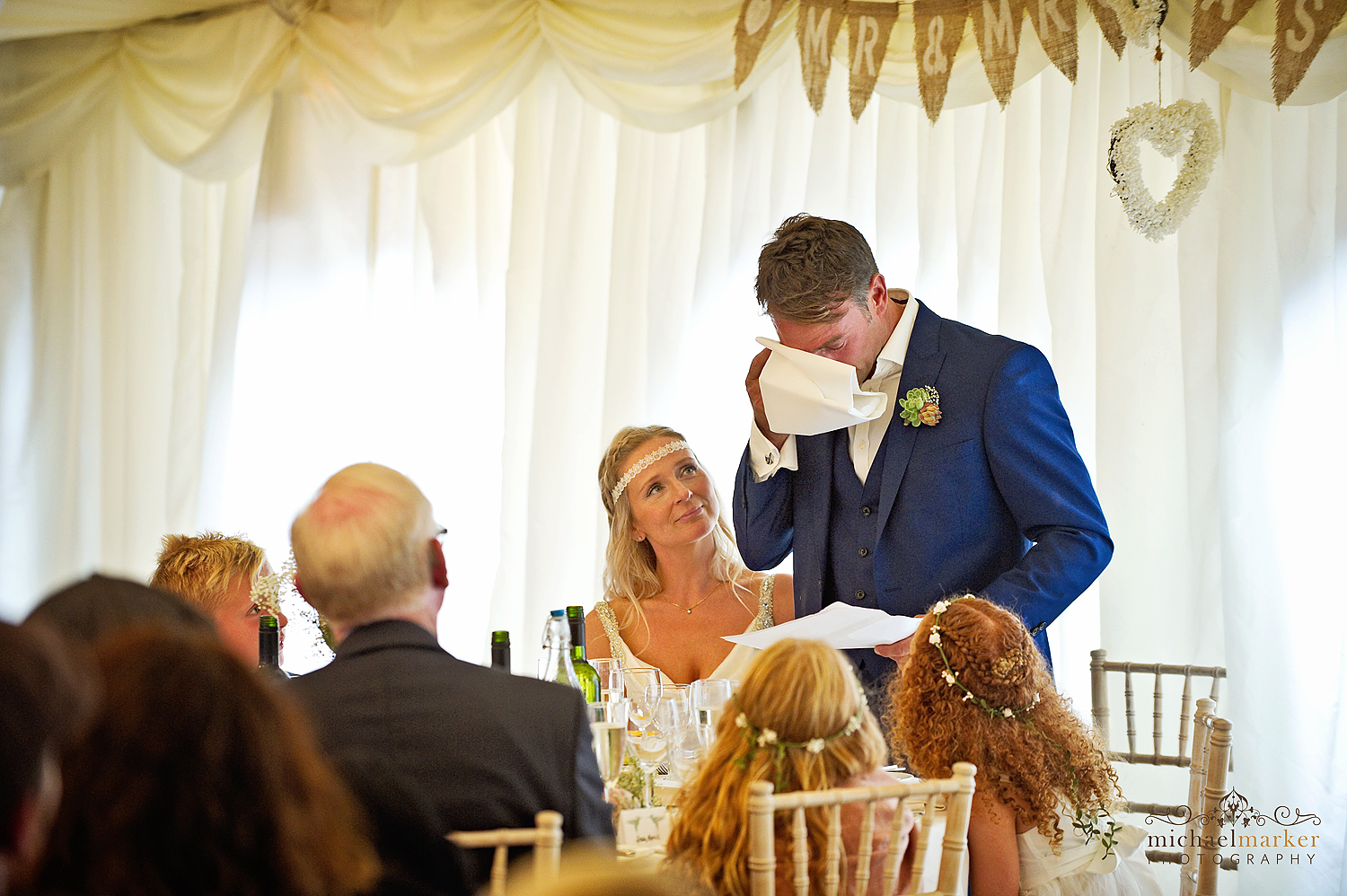 Groom emotional and wiping eyes during wedding speech at the DeerPark hotel near Exeter