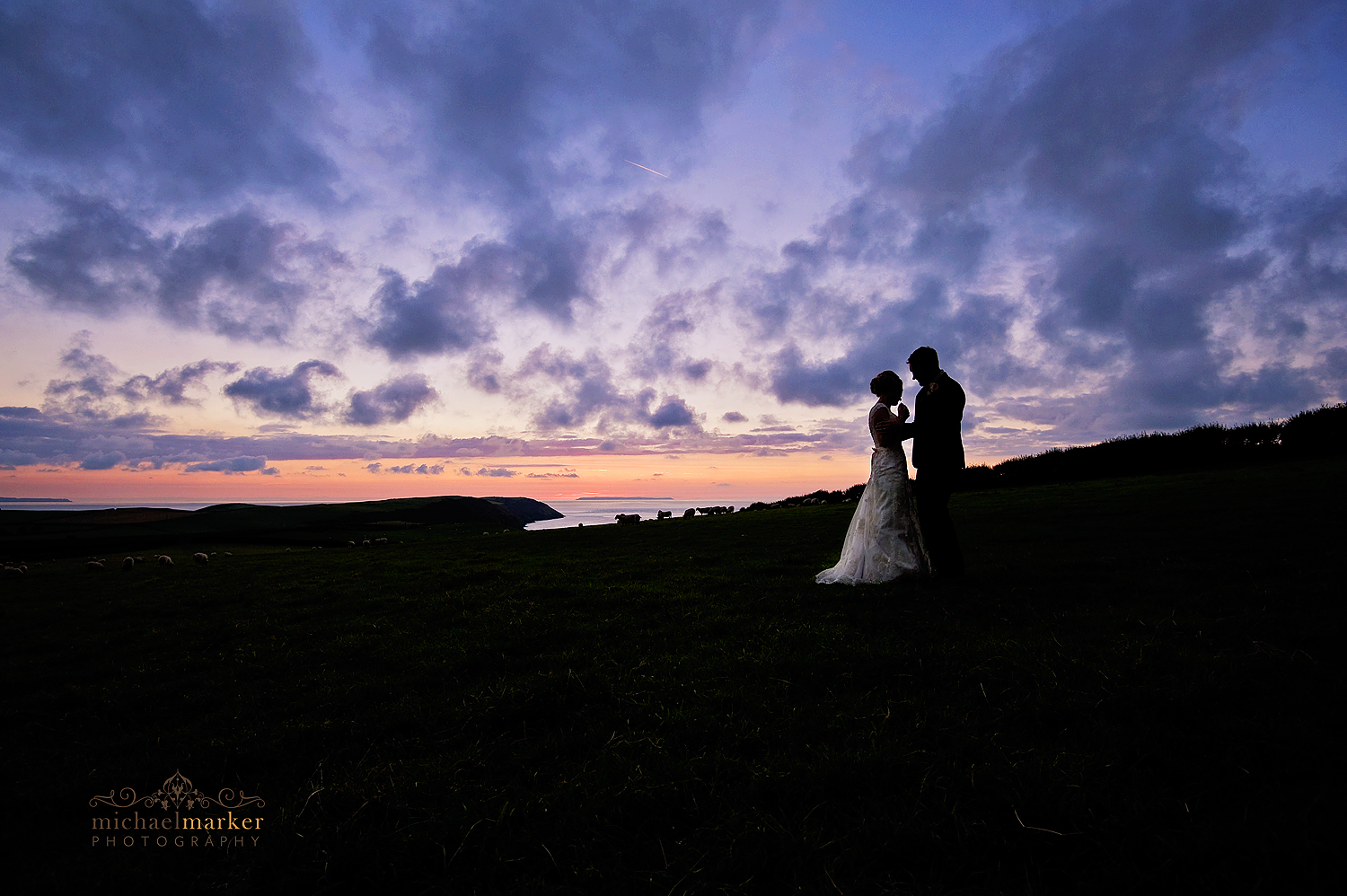 Puttsborough-wedding-sunset-over-Lundy