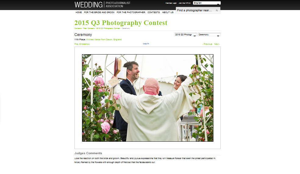 Screen view of wedding photography award