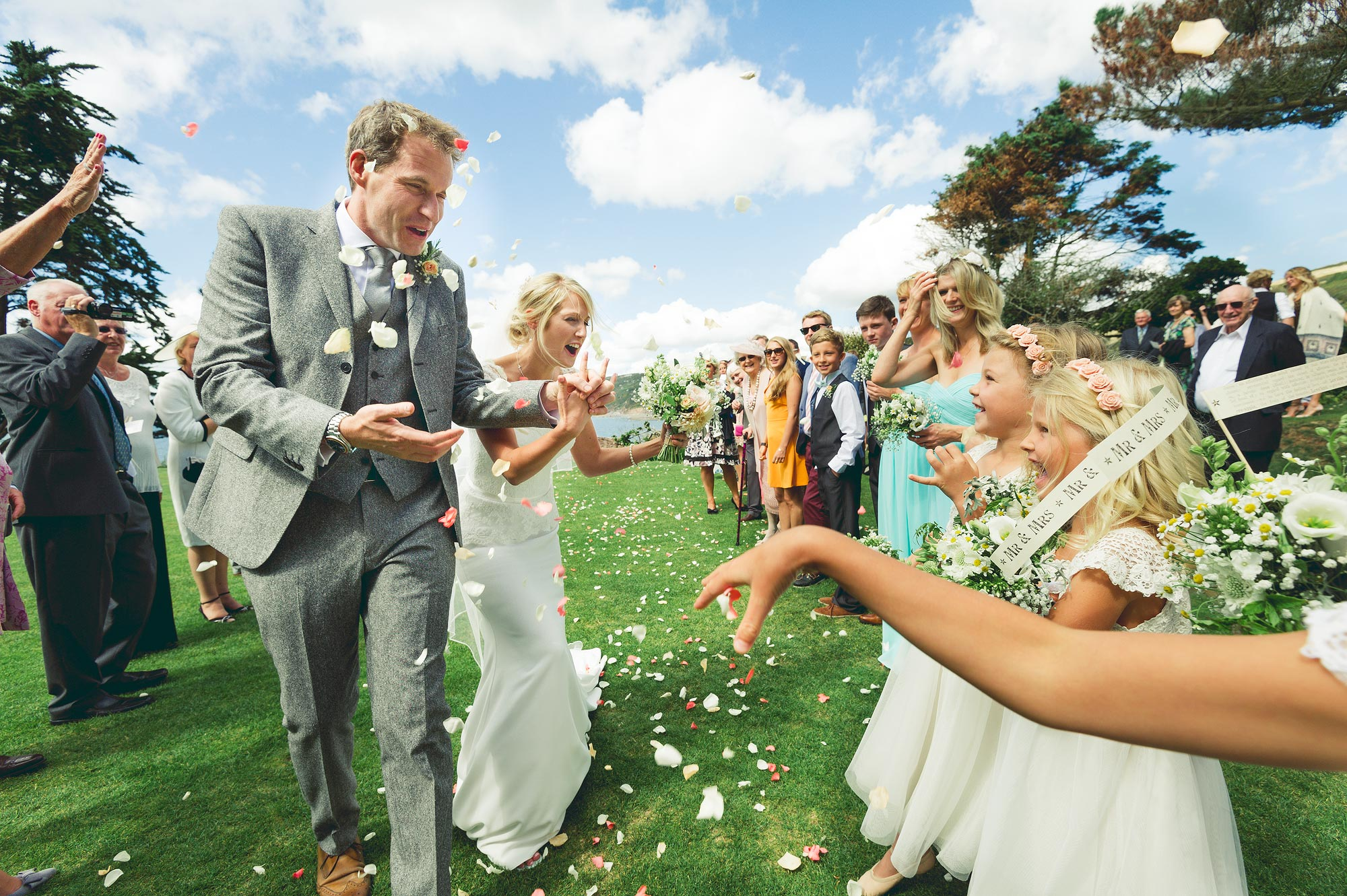 Cornish confetti wedding photo