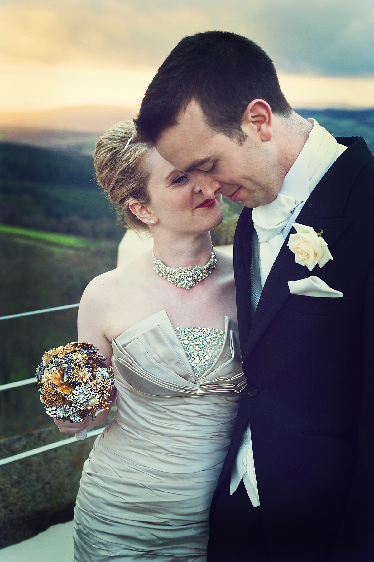 Bride and groom on top of Haldon Belvedere near Exeter