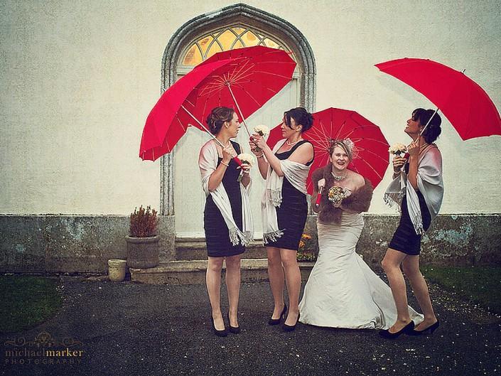 Bride and bridesmaids outside Haldon Belvedere in Devon