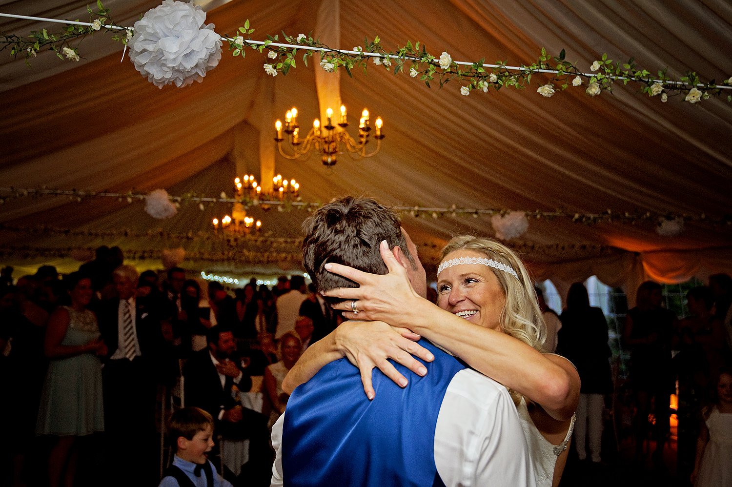 Bride and groom looking into eac others eyes on the dancefloor