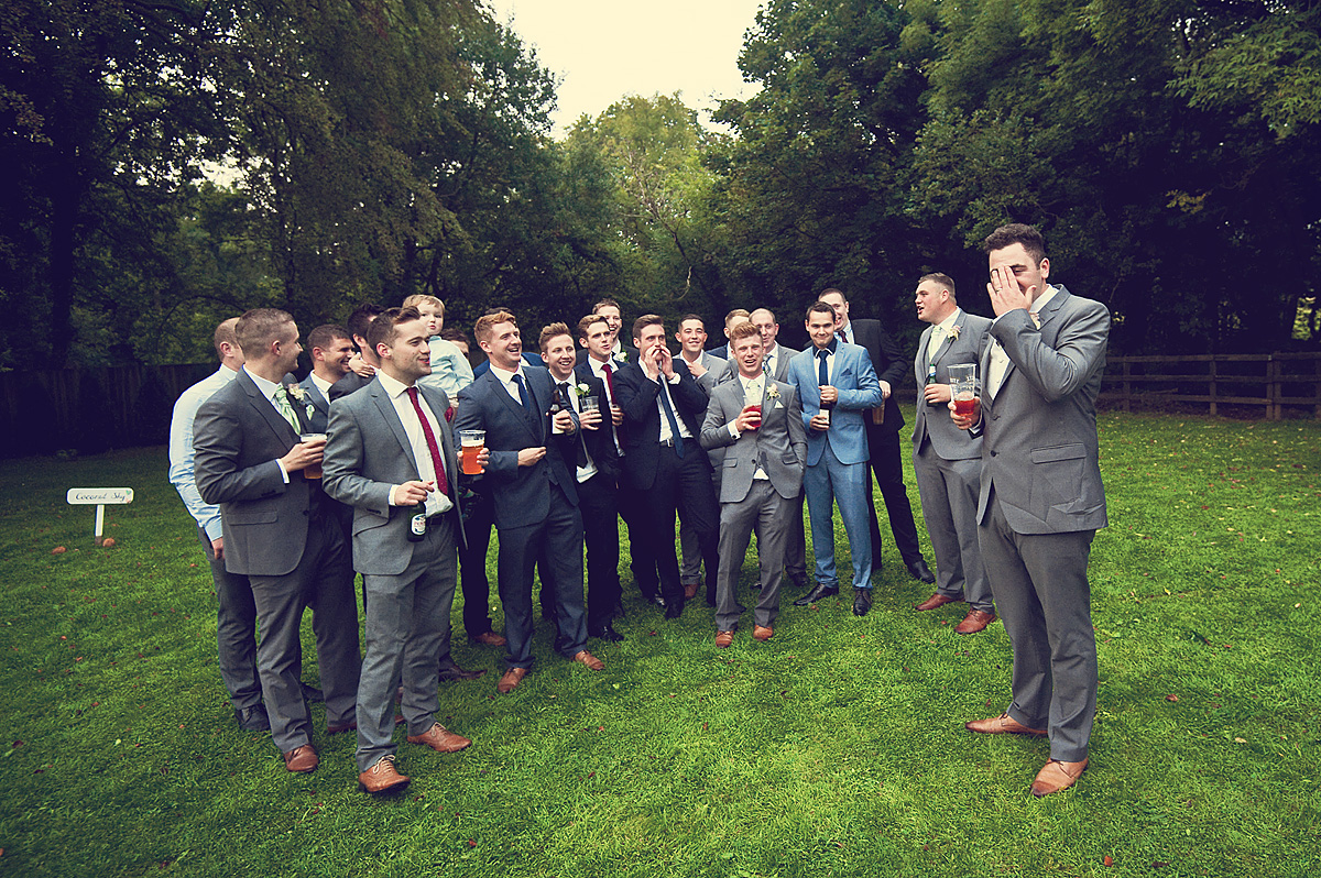 Groom and all his friends on wedding day