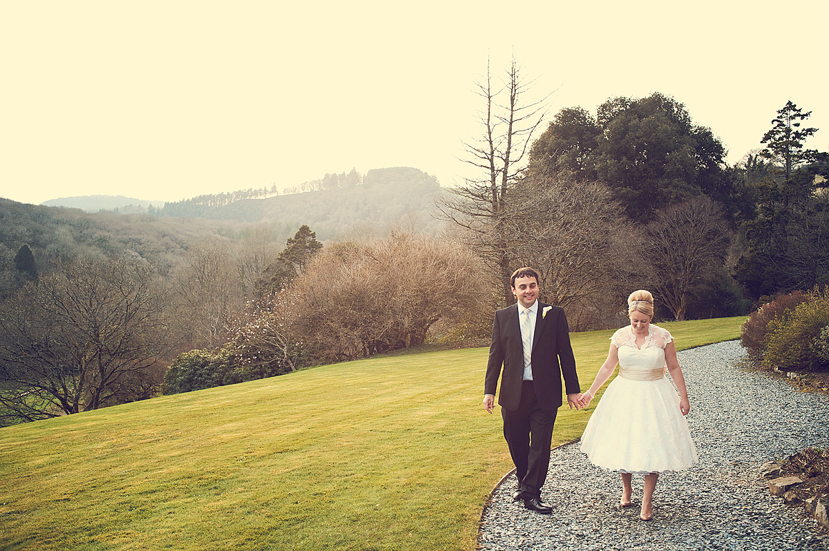 Wedding couple in grounds of luxury venue Hotel Endsleigh