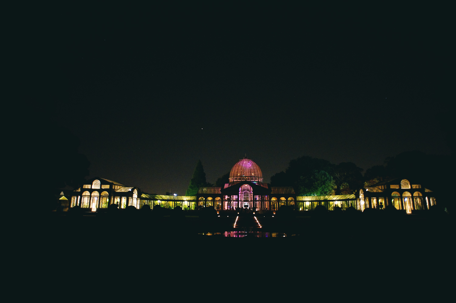 Syon House great conservatory at night during wedding reception
