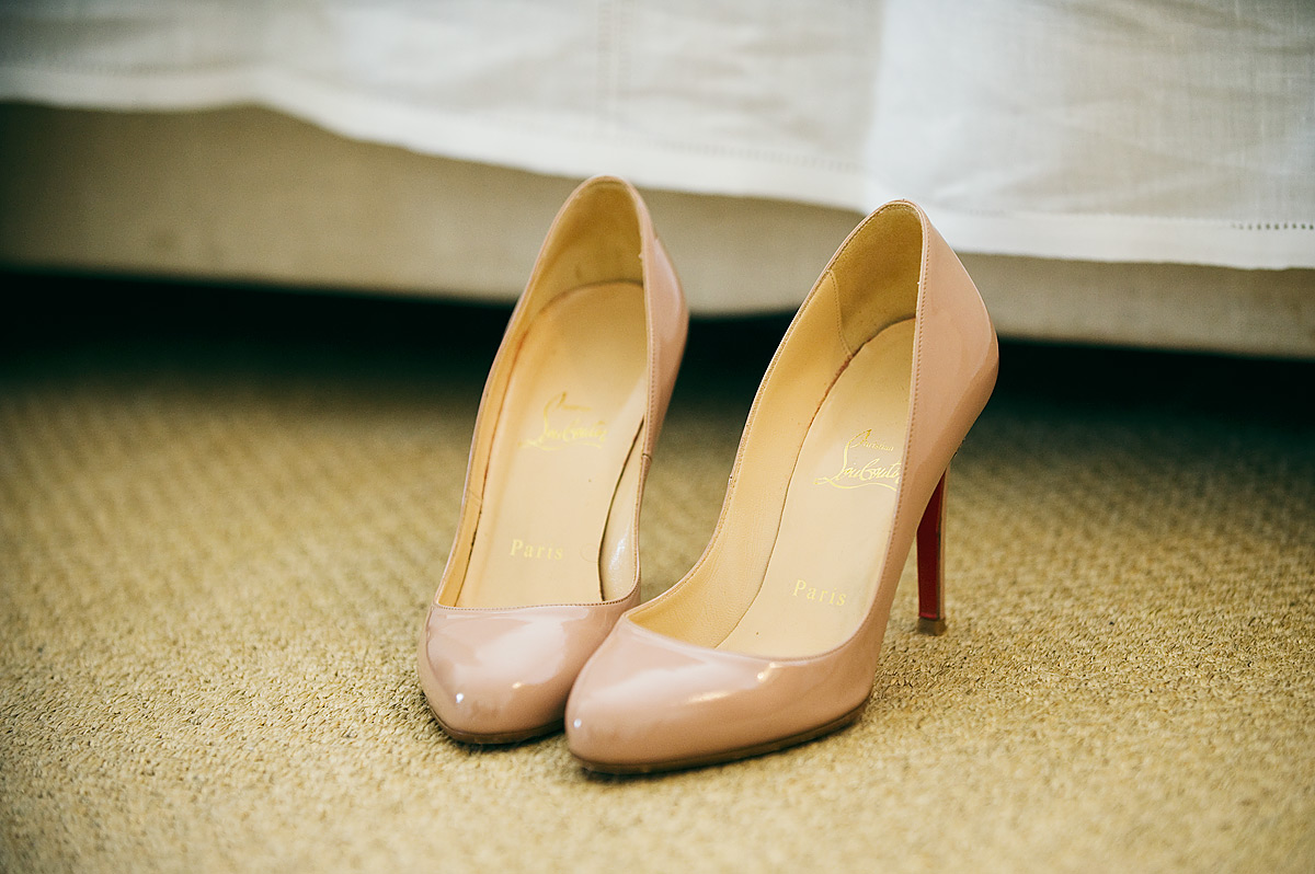 Louboutin wedding shoes Endsleigh winter wedding inDevon