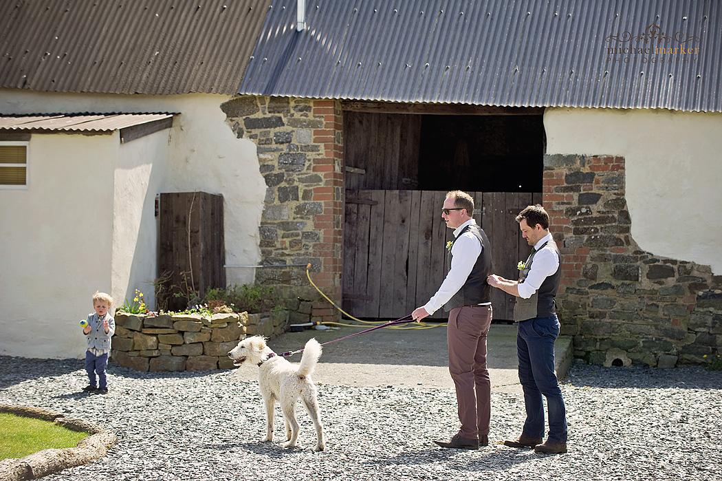 Ushers getting ready for Higher Eggbeer wedding in Devon