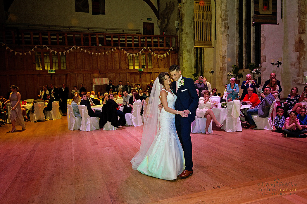 Bride and groom first dance in Dartington Hall