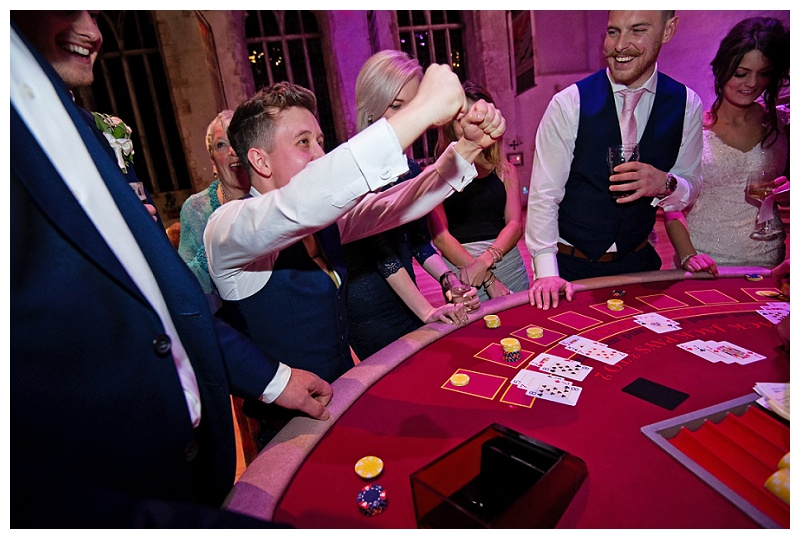 wedding guest celebrates casino win at Dartington Hall in devon