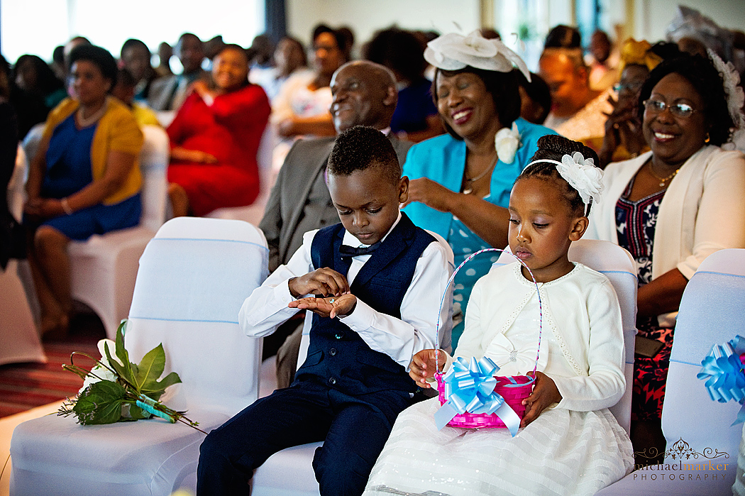 flower girl and page boy at African wedding in Cornwall