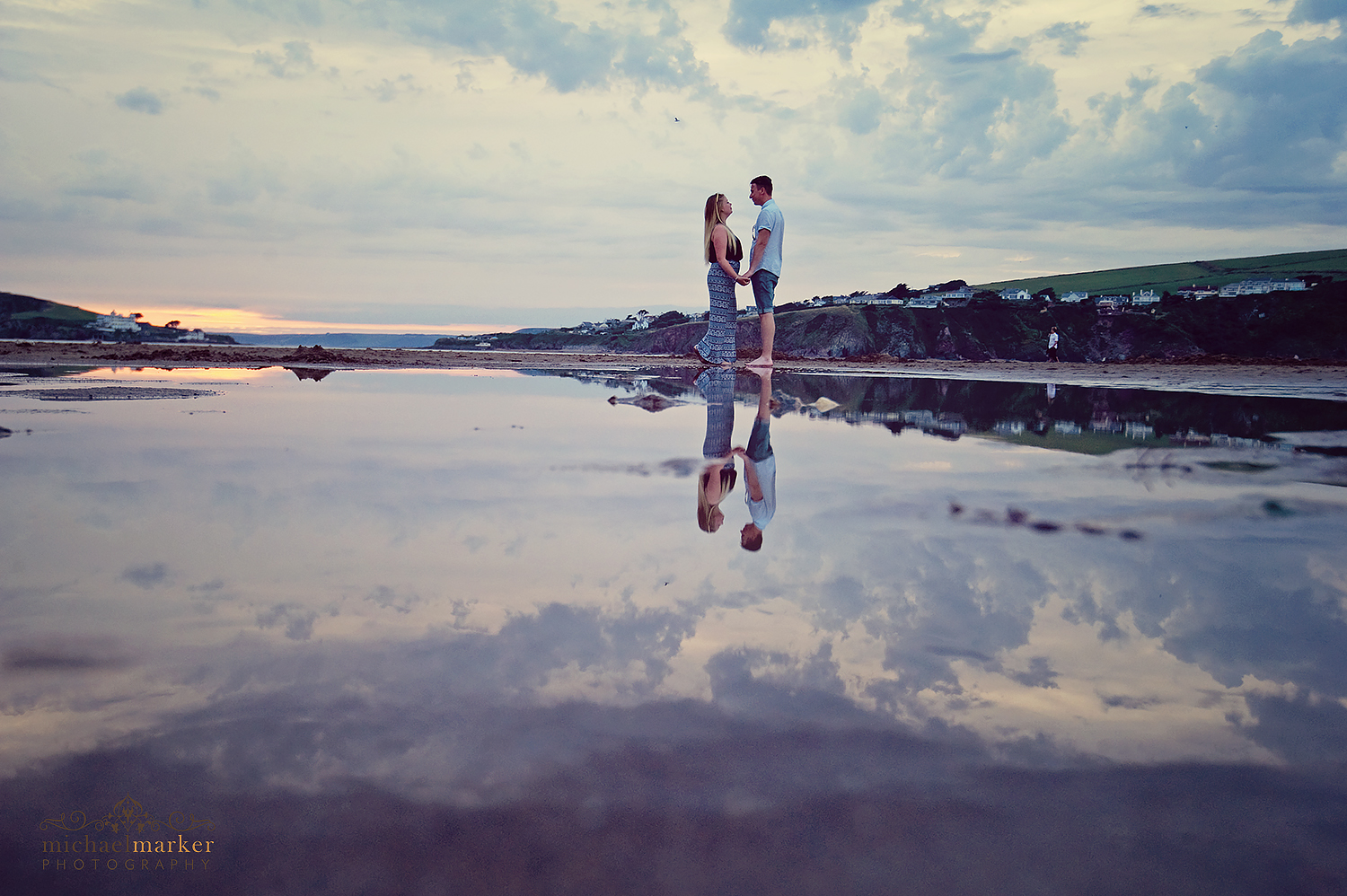 bigbury-beach-engagement-shoot-water-reflections